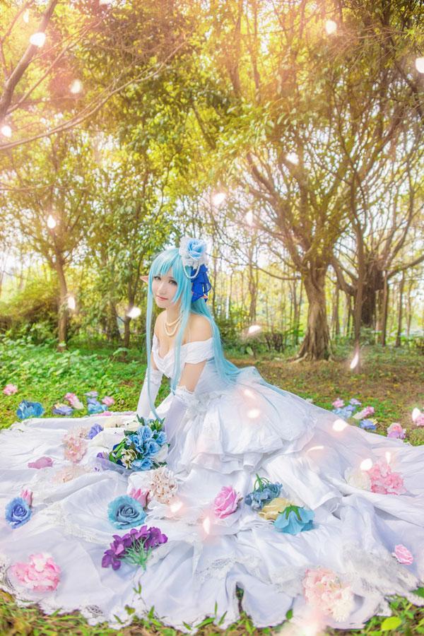 《刀剑神域》Cosplay亚丝娜 水精灵婚纱ver.